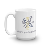 "White 15oz coffee mug - ""Bloom Where You're Planted"""