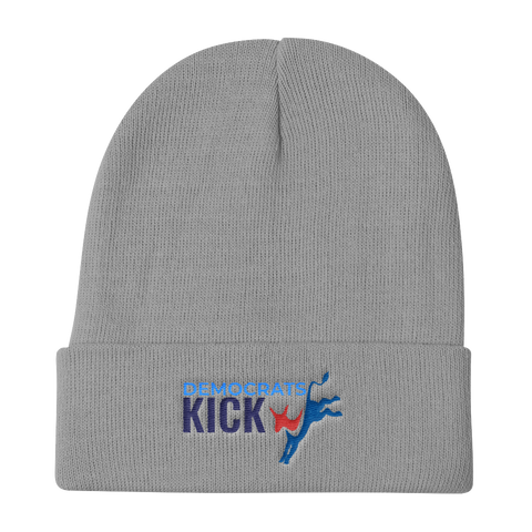 Democrats Kick A gray beanie hat
