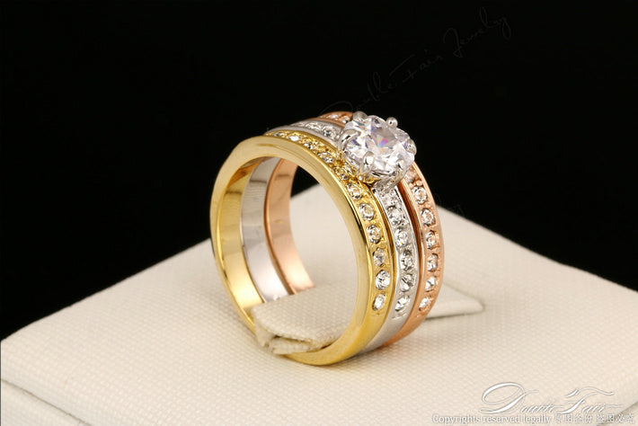 Anti Allergy 3 Rounds Cubic Zirconia Paved Engagement Rings Sets Rose Gold Color Crystal Wedding Jewelry For Women Anel DFR107