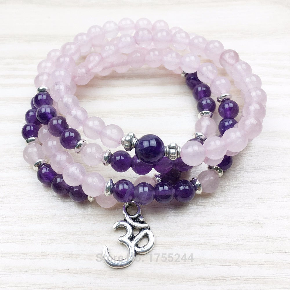 SN1024 Natural Stone Wrap Prayer Bracelet 108 Mala Beads Crystal Bracelet Rose Stone Yoga Bracelet Spiritual Jewelry
