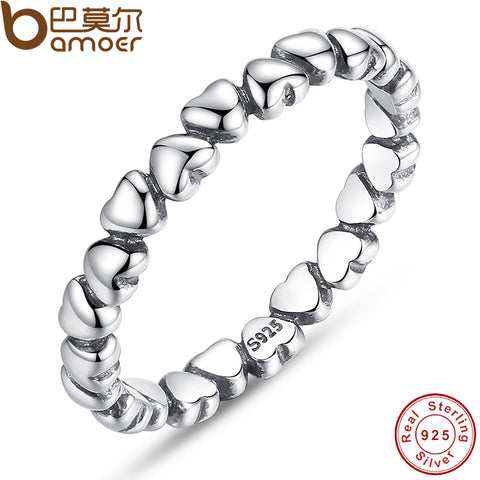 BAMOER 925 100% Solid Sterling Silver Forever Love Heart Finger Ring Original Jewelry NewYear & Valentine's Day Gift PA7108