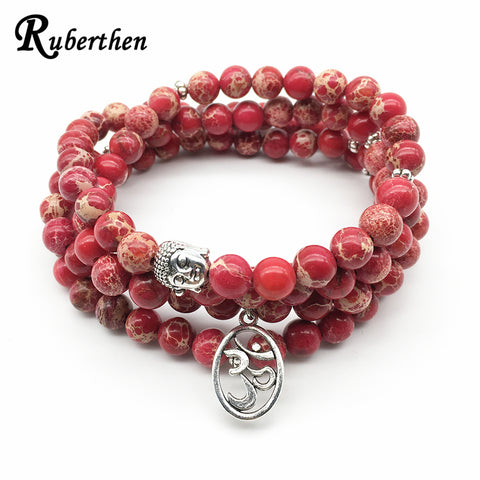 Ruberthen Fashion Yoga Ohm Bracelet New Design Women`s Healing Spiritual Jewelry Trendy Natural Red Regalite 108 Mala Bracelet