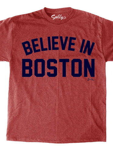 Believe in Boston - Arched Retro Heather Red Unisex T-Shirt