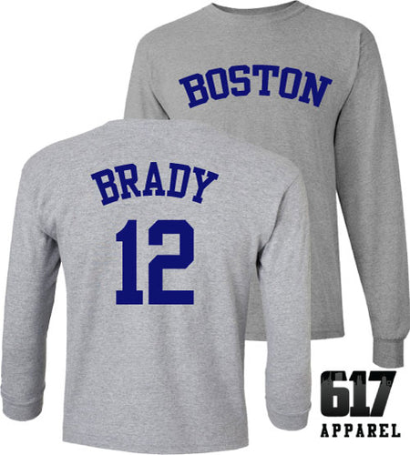 Boston Brady 12 Football Baseball Crossover Long Sleeve T-Shirt