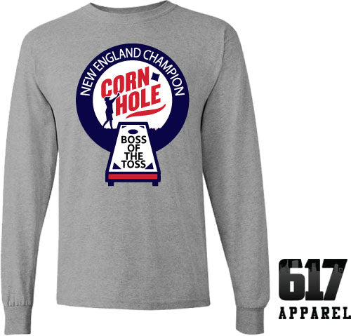 Corn Hole Champion Foxborough Football Tailgating Long Sleeve T-Shirt