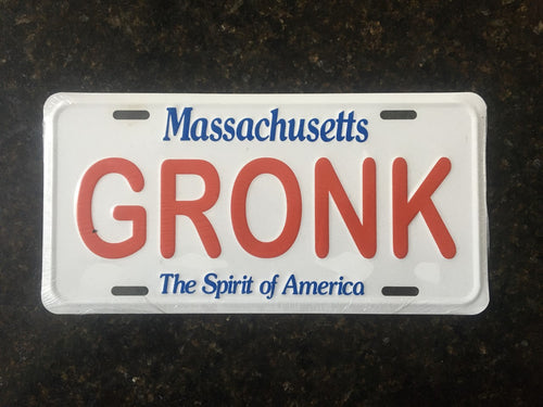 State of Massachusetts License Plate GRONK New England Football
