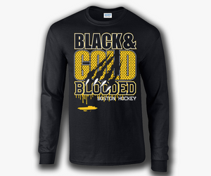 Black & Gold Blooded Boston Hockey Long Sleeve T-Shirt