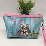 Leather Owl Cosmetic Bag