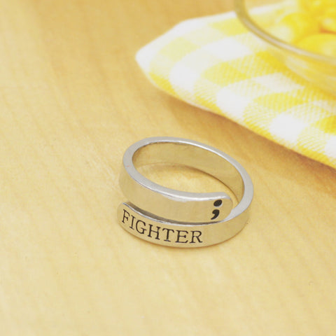 Semicolon Ring  Mental Health Awareness Fighter Ring