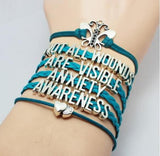 anxiety awareness bracelet blue leather