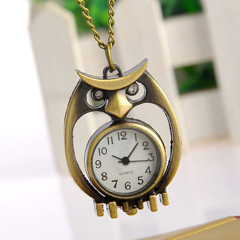 Vintage Owl Quartz Pocket Watch