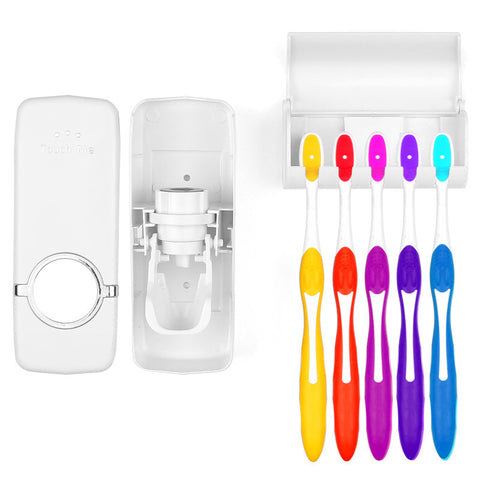 The Lazy Automatic Toothpaste Dispenser with Toothbrush Holders