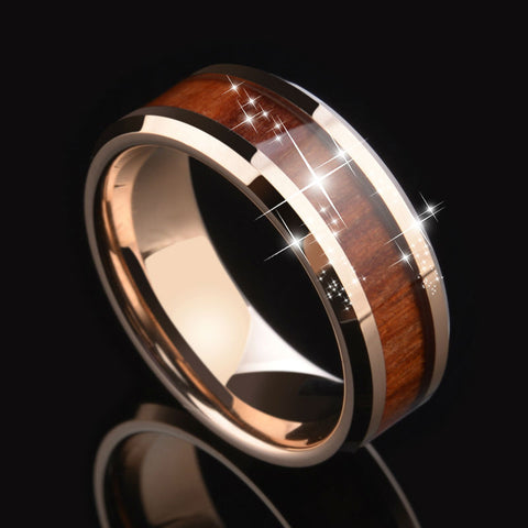 Rose Gold Tungsten  8mm Wood inlay ring