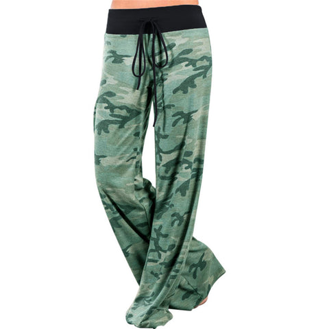 Green Camo Wide Leg Pants