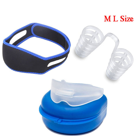 3 Pack Adjustable Stop Snoring Chin Strap, Anti-Snore Sleep Aid, Snores Stopper Nose Vents Device