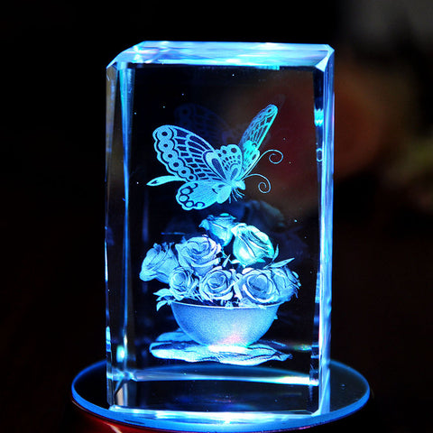 Butterfly Crystal Paperweight 3D Laser Etched