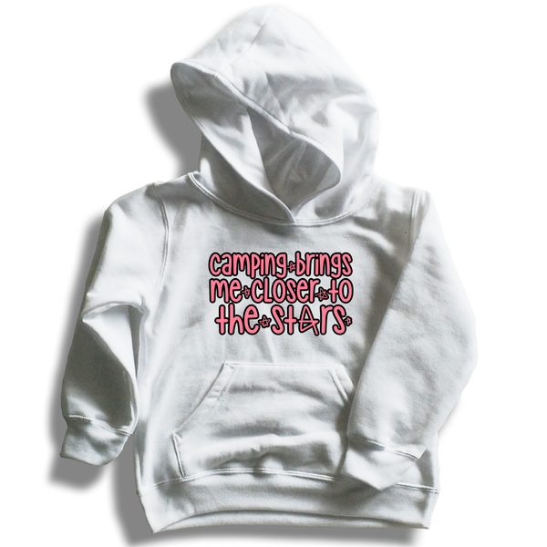5252f7bbb Boys White Pullover Fleece Hoodie *Camping Brings Me Closer To The Stars!