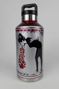 64oz. Banksy tossing Hearts Thermos