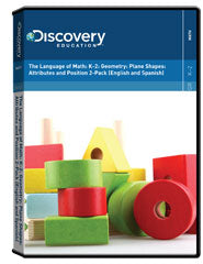 The Language of Math: K-2: Geometry: Plane Shapes: Attributes and Position 2-Pack (English and Spanish) DVD