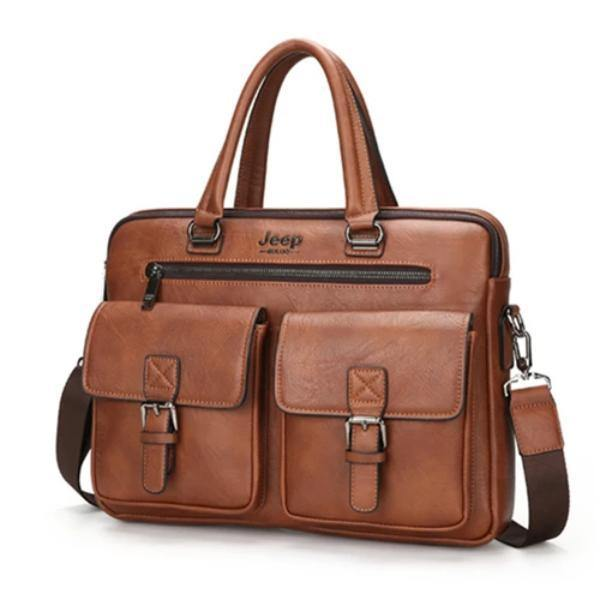 Jeep Buluo Leather Briefcase IV - Bags By Benson