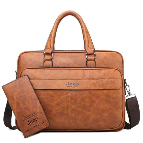 Jeep Buluo Leather Briefcase - Bags By Benson