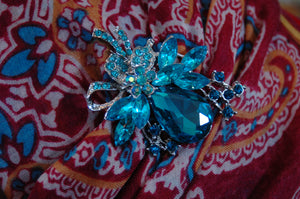February Pin - Big and Blingy Turquoise