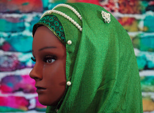 March hijab cap - green lace