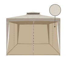 Aleko Gazebo ALEKO - Double Roof Patio Gazebo with Mesh Netting Sun Shade - 10 x 10 Ft - Sand