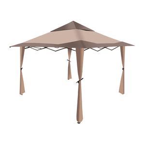 Aleko Gazebo ALEKO - Double Roof Polyester Sun Shade Patio Gazebo - 10 x 10 Ft - Brown