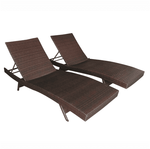 Aleko Patio Furniture ALEKO - Adjustable Patio Wicker Lounge Chairs - Set of 2 - Brown