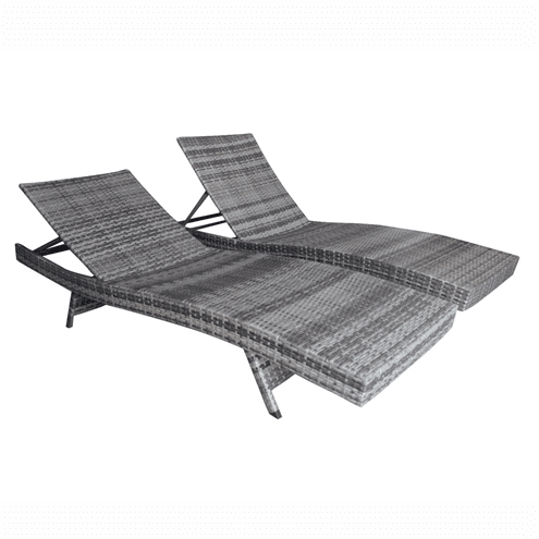 Aleko Patio Furniture ALEKO - Adjustable Patio Wicker Lounge Chairs - Set of 2 - Gray
