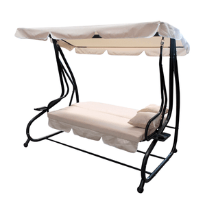 Aleko Patio Furniture ALEKO - Canopy Patio Swing Bench with Pillows and Cup Holders - Beige