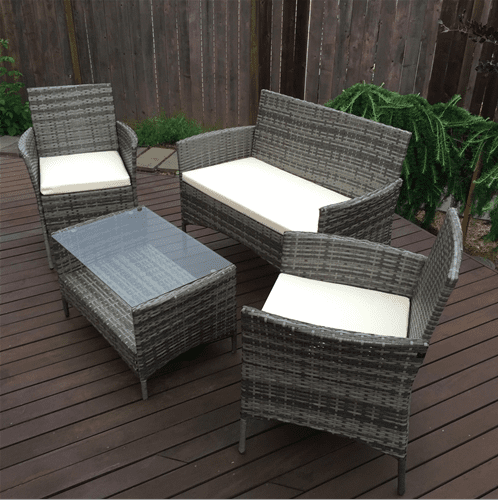 Aleko Patio Furniture ALEKO Caprera Set Rattan Indoor Outdoor Coffee Table Set Gray