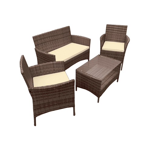 Aleko Patio Furniture ALEKO - Caprera Set Rattan Wicker Furniture 4-Piece Indoor Outdoor Coffee Table Set - Brown