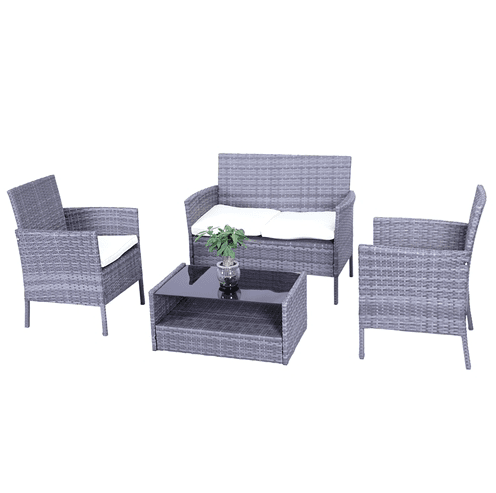 Aleko Patio Furniture ALEKO - Hamptons Rattan Patio Furniture Coffee Table Set - 4 Piece - Grey Set with Cream Cushions