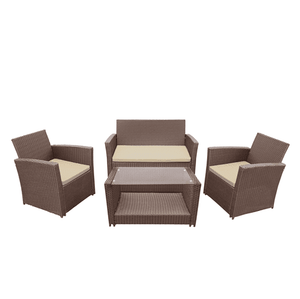 Aleko Patio Furniture ALEKO - Lipari Set Rattan Wicker Furniture 4-Piece Indoor Outdoor Coffee Table Set - Brown