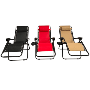 Aleko Patio Furniture ALEKO - Outdoor Patio Foldable Lounge Chair - Black Color - Lot of 2