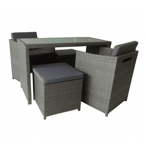 Aleko Patio Furniture ALEKO - Outdoor Rattan Wicker 5 Piece Furniture Set with Tempered Glass Coffee Table in Gray