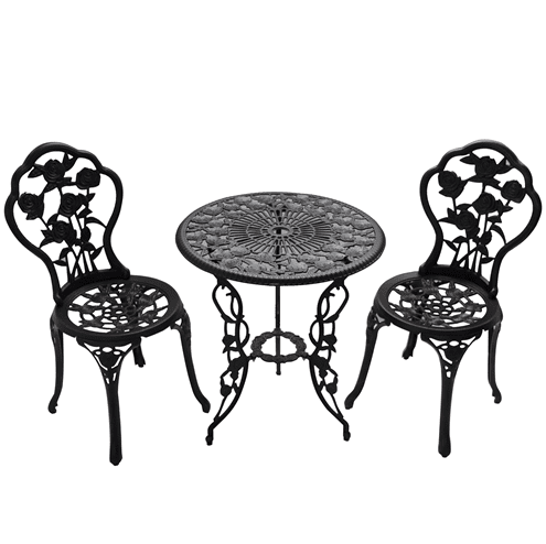 Aleko Patio Furniture ALEKO - Rose Designed Bistro Furniture Set - 3 Piece - Black with Brushed Bronze