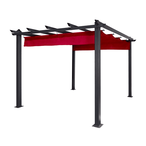 Aleko Pergola ALEKO - Aluminum Outdoor Canopy Grape Trellis Pergola - 9 x 9 Ft - Burgundy Color