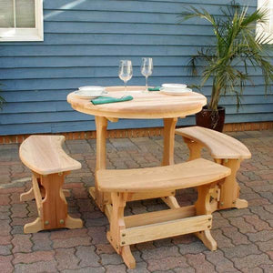 "Creekvine Designs Patio Furniture 35"" Cedar Round Trestle Dining Set Creekvine Designs Cedar Round Trestle Dining Set"