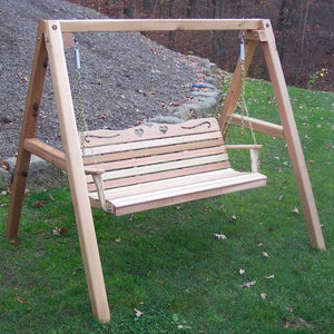 Creekvine Designs Patio Furniture 4' Swing w/Stand Creekvine Designs Cedar Country Hearts Porch Swing with Stand