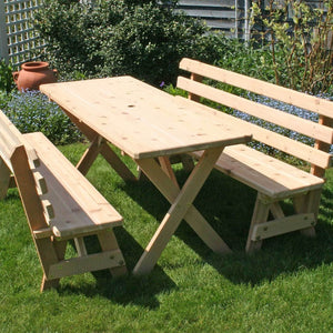 Creekvine Designs Patio Furniture 4' Table w/(2) 4' Backed Benches Creekvine Designs Cedar Backyard Bash Cross Legged Picnic Table with Backed Benches