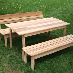 "Creekvine Designs Patio Furniture 46""L x 32""W Table w/ (2) Benches Creekvine Designs Cedar Couple Dining Set"