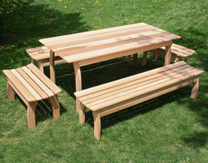"Creekvine Designs Patio Furniture 46""L x 32""W Table w/ (4) Benches Creekvine Designs Cedar Family Dining Set"