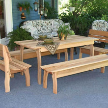 "Creekvine Designs Patio Furniture 46""L x 32""W Table w/ (4) Benches Creekvine Designs Cedar Gathering Dining Set"
