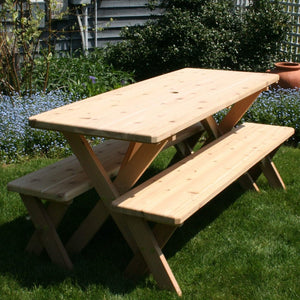 Creekvine Designs Patio Furniture Creekvine Designs Cedar Backyard Bash Cross Legged Picnic Table with Detached Benches