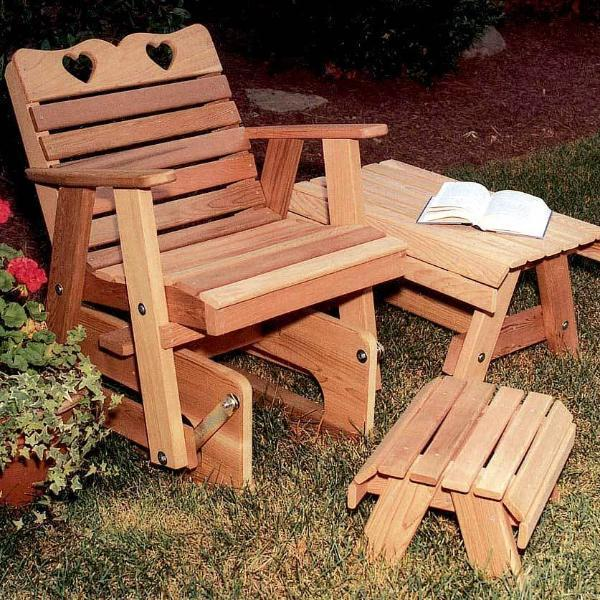 Creekvine Designs Patio Furniture Default Title Creekvine Designs Cedar Country Hearts Rocking Glider Chair