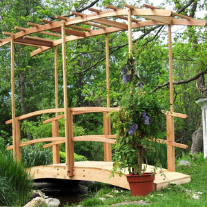 Creekvine Designs Yard Decor 6' Bridge Creekvine Designs Monet's Red Cedar Bridge with Curved Wisteria Canopy