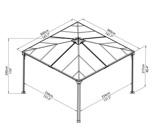 Palram - Palermo 3600 Gazebo 12' x 12' Gray/Bronze - Upgraded Outdoor Living